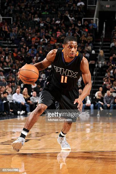 Brandon Knight of the Phoenix Suns handles the ball during the game against the Denver Nuggets on January 28 2017 at US Airways Center in Phoenix...