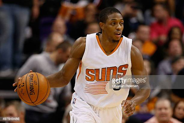 Brandon Knight of the Phoenix Suns handles the ball during the NBA game against the Chicago Bulls at Talking Stick Resort Arena on November 18 2015...
