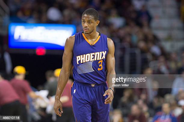Brandon Knight of the Phoenix Suns pauses on the court between plays during the first half against the Cleveland Cavaliers at Quicken Loans Arena on...