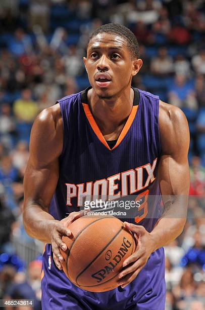 Brandon Knight of the Phoenix Suns prepares to shoot against the Orlando Magic during the game on March 4 2015 at Amway Center in Orlando Florida...