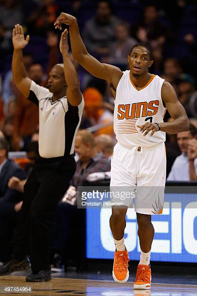 Brandon Knight of the Phoenix Suns reacts after hitting a three point shot against the Los Angeles Lakers during the first half of the NBA game at...