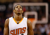 Brandon Knight of the Phoenix Suns reacts as he walks down court during the second half of the NBA game against the Boston Celtics at US Airways...