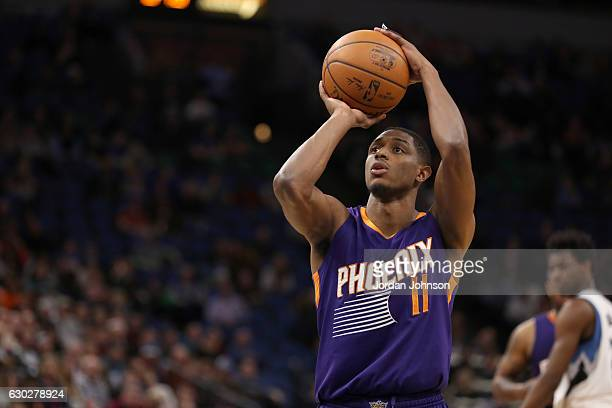 Brandon Knight of the Phoenix Suns shoots a free throw against the Minnesota Timberwolves on December 19 2016 at Target Center in Minneapolis...