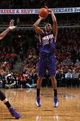 Brandon Knight of the Phoenix Suns takes a shot against the Chicago Bulls on February 21 2015 at the United Center in Chicago Illinois NOTE TO USER...