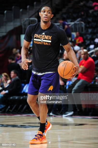 Brandon Knight of the Phoenix Suns warms up before a game against the Atlanta Hawks on March 28 2017 at Philips Arena in Atlanta Georgia NOTE TO USER...