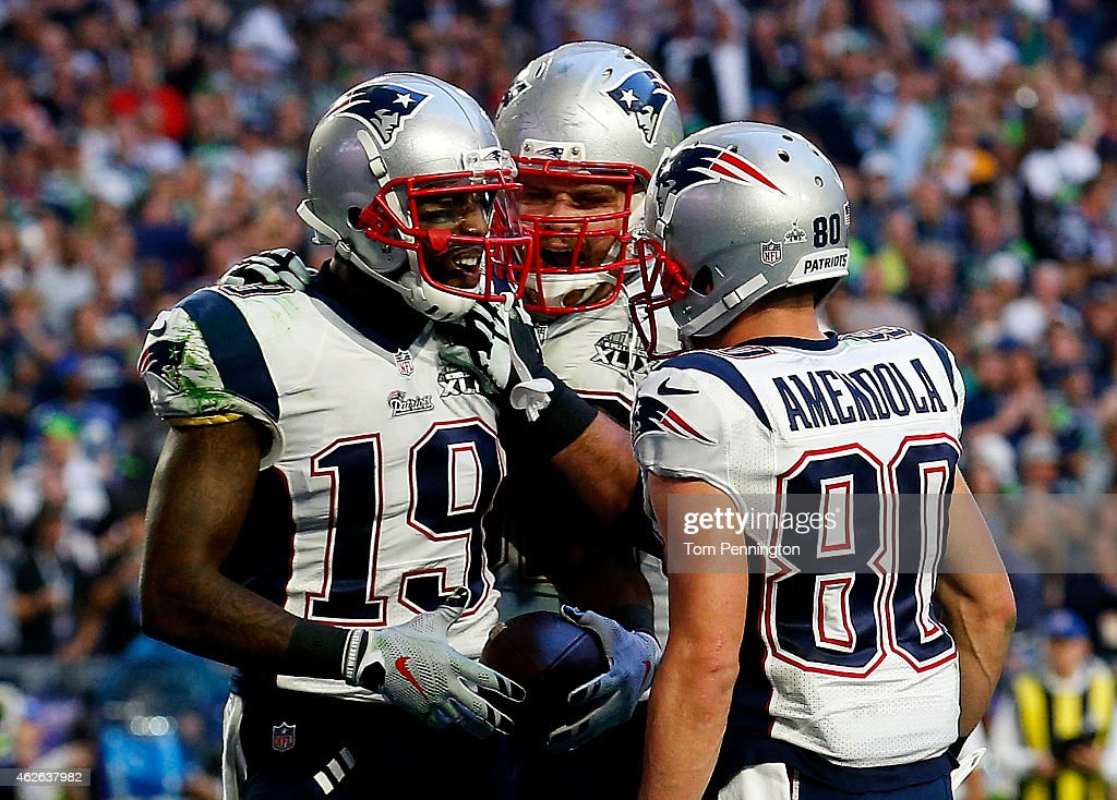 <a gi-track='captionPersonalityLinkClicked' href=/galleries/search?phrase=Brandon+LaFell&family=editorial&specificpeople=2733534 ng-click='$event.stopPropagation()'>Brandon LaFell</a> #19 celebrates after a touchdown with <a gi-track='captionPersonalityLinkClicked' href=/galleries/search?phrase=Danny+Amendola&family=editorial&specificpeople=2194309 ng-click='$event.stopPropagation()'>Danny Amendola</a> #80 of the New England Patriots against the Seattle Seahawks in the second quarter during Super Bowl XLIX at University of Phoenix Stadium on February 1, 2015 in Glendale, Arizona.