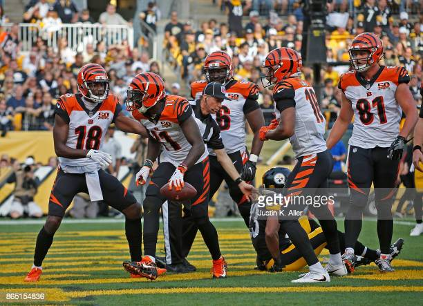 Brandon LaFell of the Cincinnati Bengals celebrates with teammates after a 6 yard touchdown reception in the first quarter during the game against...