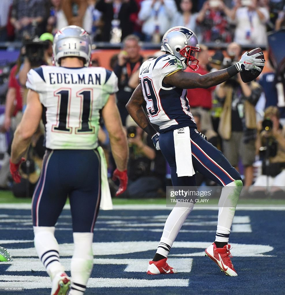 Brandon LaFell of the New England Patriots celebrates his touchdown against the Seattle Seahawks during Super Bowl XLIX February 1 2015 at the...