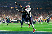 Brandon LaFell of the New England Patriots fails to complete the catch against Tharold Simon of the Seattle Seahawks in the fourth quarter during...