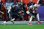 Brandon LaFell of the New England Patriots makes a catch against Tharold Simon of the Seattle Seahawks in the second quarter during Super Bowl XLIX...