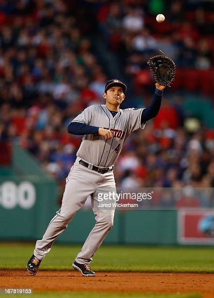 Brandon Laird of the Houston Astros catches a line drive at first base against the Boston Red Sox during the game on April 27 2013 at Fenway Park in...