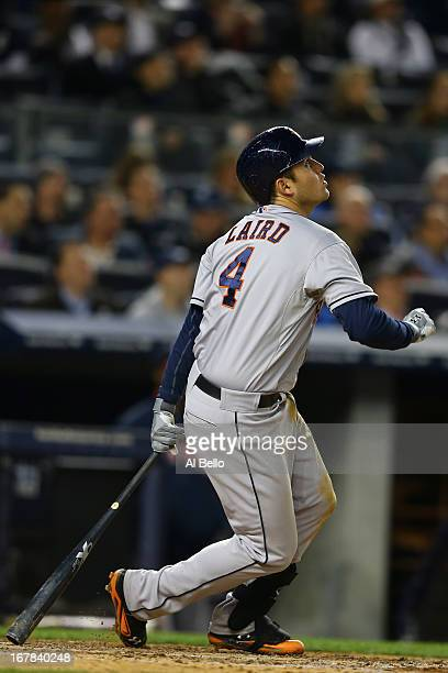 Brandon Laird of the Houston Astros in action against the New York Yankees during their game on April 29 2013 at Yankee Stadium in the Bronx borough...