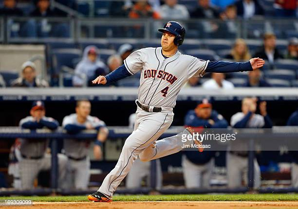 Brandon Laird of the Houston Astros in action against the New York Yankees at Yankee Stadium on April 29 2013 in the Bronx borough of New York City...
