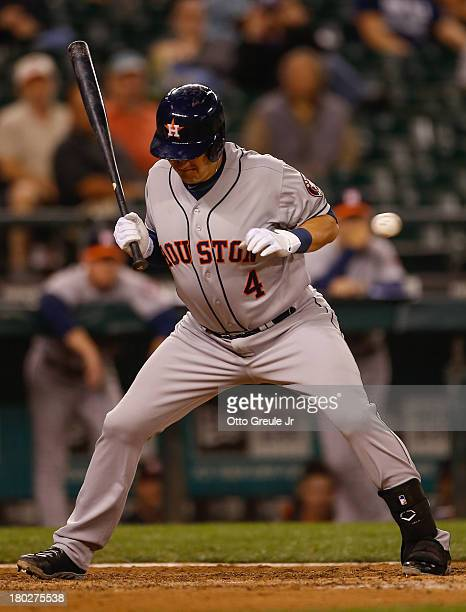Brandon Laird of the Houston Astros is hit by a pitch in the eighth inning against the Seattle Mariners at Safeco Field on September 10 2013 in...
