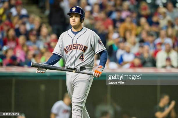 Brandon Laird of the Houston Astros walks back to the dugout during the fifth inning against the Cleveland Indians at Progressive Field on September...