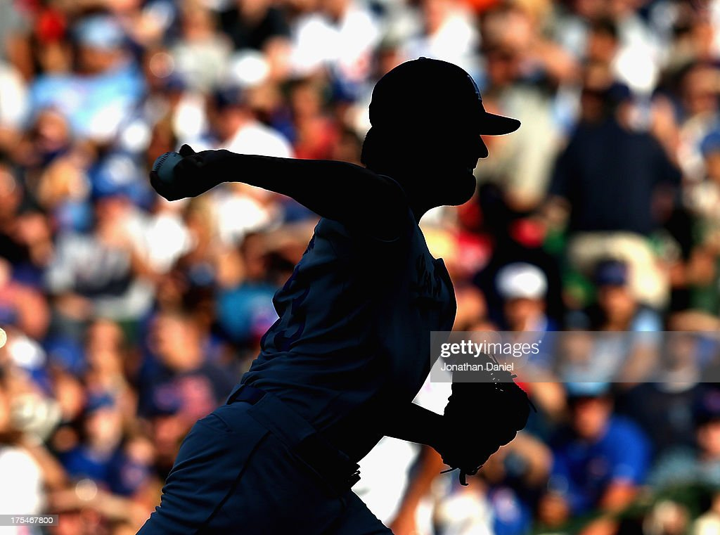 <a gi-track='captionPersonalityLinkClicked' href=/galleries/search?phrase=Brandon+League&family=editorial&specificpeople=809191 ng-click='$event.stopPropagation()'>Brandon League</a> #43 of the Los Angeles Dodgers pitches against the Chicago Cubs at Wrigley Field on August 3, 2013 in Chicago, Illinois. The Dodgers defeated the Cubs 3-0.