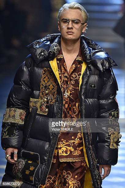 Brandon Lee walks the runway at the Dolce Gabbana show during Milan Men's Fashion Week Fall/Winter 2017/18 on January 14 2017 in Milan Italy