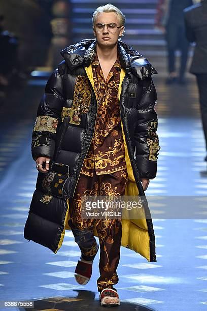 Brandon Lee walks the runway at the Dolce Gabbana show during Milan Men's Fashion Week Fall/Winter 2017/18 on January 14 2017 in Milan Italy