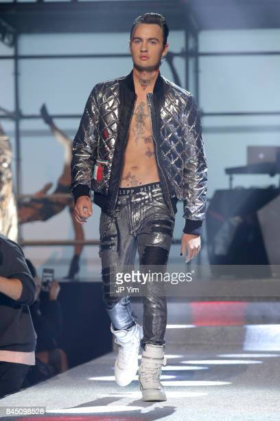 Brandon Lee walks the runway at the Philipp Plein fashion show during New York Fashion Week The Shows at Hammerstein Ballroom on September 9 2017 in...