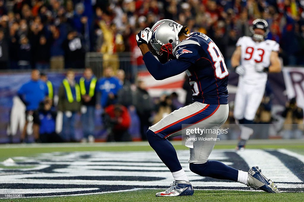Brandon Lloyd #85 of the New England Patriots celerbates after scoring a touchdown against the Houston Texans during the 2013 AFC Divisional Playoffs game at Gillette Stadium on January 13, 2013 in Foxboro, Massachusetts.