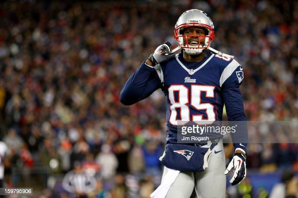Brandon Lloyd of the New England Patriots reacts after a play against the Baltimore Ravens during the 2013 AFC Championship game at Gillette Stadium...