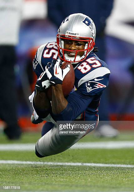 Brandon Lloyd of the New England Patriots recovers a fumble by teammate Wes Welker of the New England Patriots for a touchdown in the end zone in the...