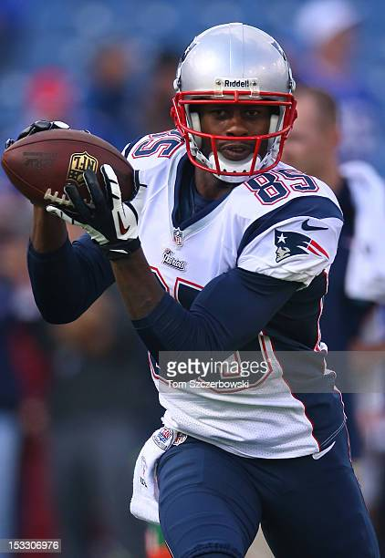 Brandon Lloyd of the New England Patriots warms up before playing an NFL game against the Buffalo Bills at Ralph Wilson Stadium on September 30 2012...