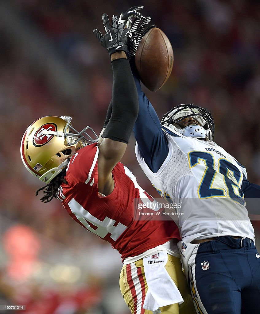 <a gi-track='captionPersonalityLinkClicked' href=/galleries/search?phrase=Brandon+Lloyd&family=editorial&specificpeople=206502 ng-click='$event.stopPropagation()'>Brandon Lloyd</a> #84 of the San Francisco 49ers has a pass broken up by <a gi-track='captionPersonalityLinkClicked' href=/galleries/search?phrase=Brandon+Flowers+-+Football+americano&family=editorial&specificpeople=7270342 ng-click='$event.stopPropagation()'>Brandon Flowers</a> #26 of the San Diego Chargersin the first quarter at Levi's Stadium on December 20, 2014 in Santa Clara, California.