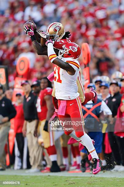 Brandon Lloyd of the San Francisco 49ers makes a reception during the game against the Kansas City Chiefs at Levi Stadium on October 5 2014 in Santa...