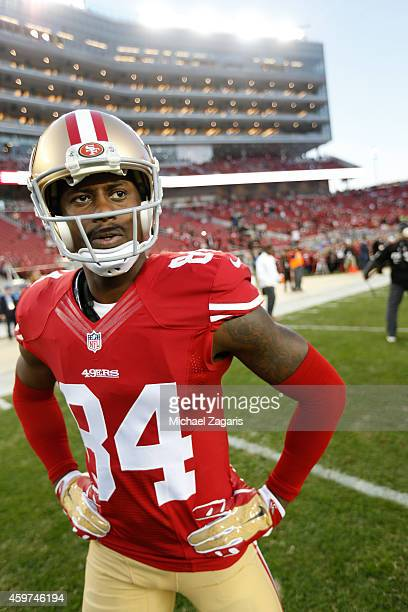 Brandon Lloyd of the San Francisco 49ers stands on the field prior to the game against the Seattle Seahawks at Levi Stadium on November 27 2014 in...