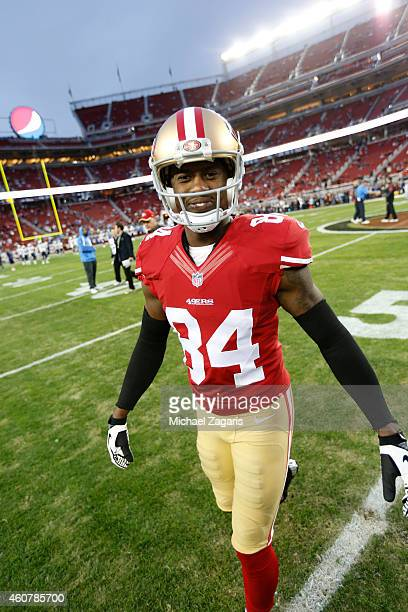 Brandon Lloyd of the San Francisco 49ers stands on the field prior to the game against the San Diego Chargers at Levi Stadium on December 20 2014 in...