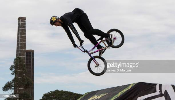 Brandon Loupos a BMX bicycle freestyle athlete performs on October 7 2017 in Sydney Australia The Big Adventure at Sydney Park is part of the...