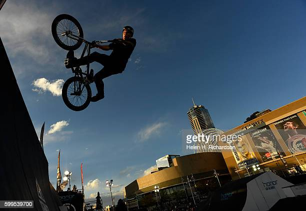 Brandon Loupos of Sydney Australia catches some big air as he competes in the Firstever UCI World Cup for BMX Freestyle Park in the United States the...