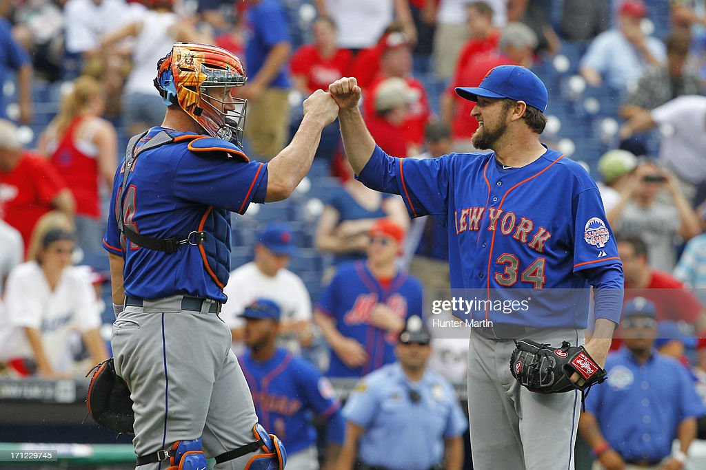 Brandon Lyon #34 of the New York Mets is congratulated by <a gi-track='captionPersonalityLinkClicked' href=/galleries/search?phrase=John+Buck&family=editorial&specificpeople=213730 ng-click='$event.stopPropagation()'>John Buck</a> #44 after a game against the Philadelphia Phillies at Citizens Bank Park on June 23, 2013 in Philadelphia, Pennsylvania. The Mets won 8-0.