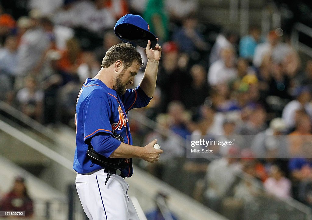 Brandon Lyon #34 of the New York Mets reacts after giving up three runs in the eighth inning against the Washington Nationals at Citi Field on June 28, 2013 at Citi Field in the Flushing neighborhood of the Queens borough of New York City. Nationals defeated the Mets 6-4.