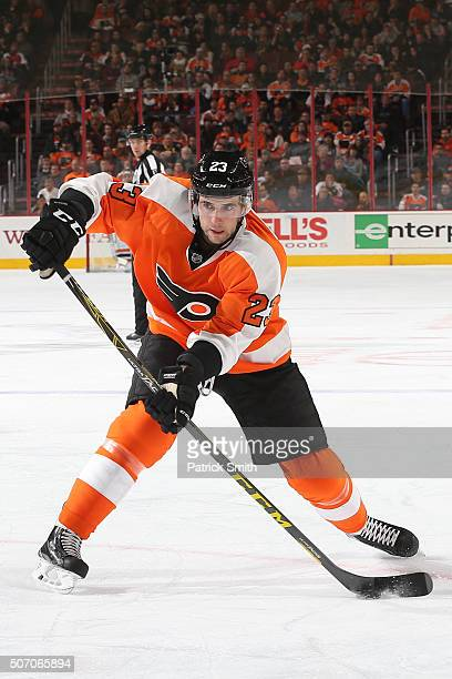 Brandon Manning of the Philadelphia Flyers in action against the Boston Bruins during the second period at Wells Fargo Center on January 25 2016 in...