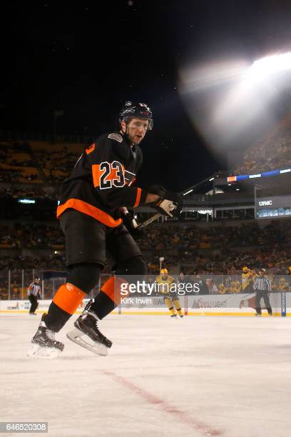 Brandon Manning of the Philadelphia Flyers skates after the puck during the game against the Pittsburgh Penguins at Heinz Field on February 25 2017...