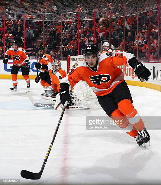 Brandon Manning of the Philadelphia Flyers skates against the Arizona Coyotes on October 27 2016 at the Wells Fargo Center in Philadelphia...
