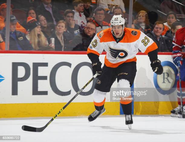 Brandon Manning of the Philadelphia Flyers skates against the Montreal Canadiens at the Wells Fargo Center on February 2 2017 in Philadelphia...