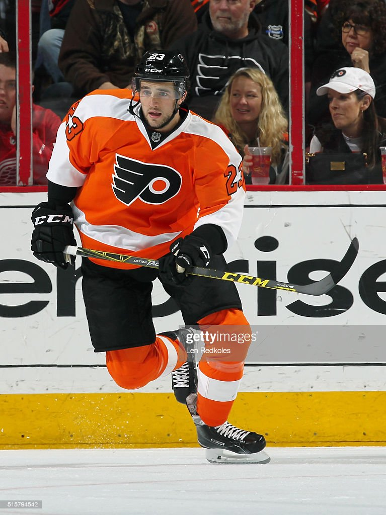 Brandon Manning #23 of the Philadelphia Flyers skates against the Detroit Red Wings on March 15, 2016 at the Wells Fargo Center in Philadelphia, Pennsylvania. The Flyers went on to defeat the Red Wings 4-3.