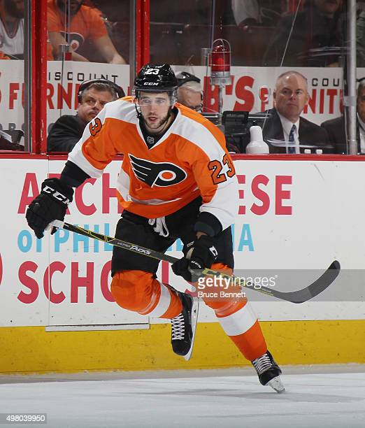 Brandon Manning of the Philadelphia Flyers skates against the San Jose Sharks at the Wells Fargo Center on November 19 2015 in Philadelphia...