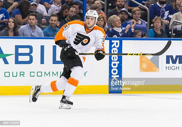 Brandon Manning of the Philadelphia Flyers skates against the Tampa Bay Lightning at the Amalie Arena on October 8 2015 in Tampa Florida