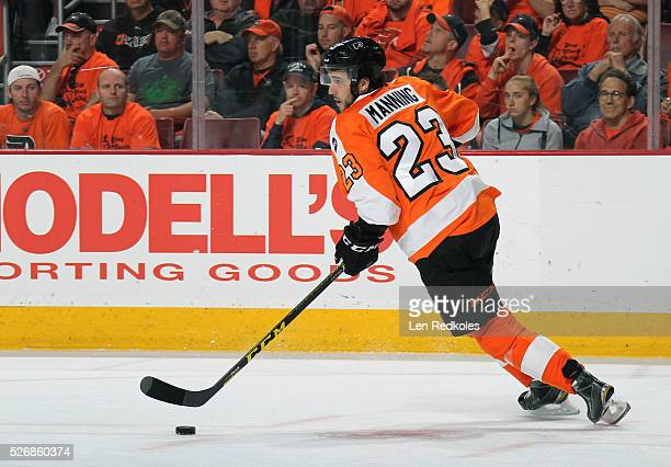 Brandon Manning of the Philadelphia Flyers skates the puck against the Washington Capitals in Game Six of the Eastern Conference First Round during...