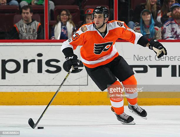 Brandon Manning of the Philadelphia Flyers skates the puck against the New York Rangers on January 4 2017 at the Wells Fargo Center in Philadelphia...