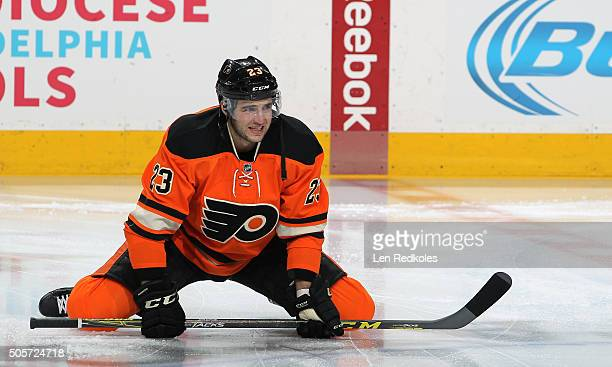 Brandon Manning of the Philadelphia Flyers stretches during warm ups prior to his game against the Boston Bruins on January 13 2016 at the Wells...