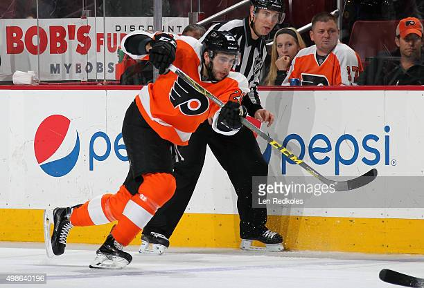 Brandon Manning of the Philadelphia Flyers takes a slapshot against the San Jose Sharks on November 19 2015 at the Wells Fargo Center in Philadelphia...