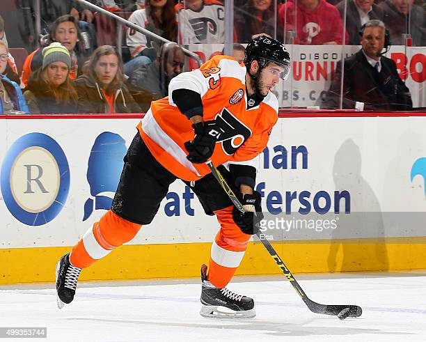 Brandon Manning of the Philadelphia Flyers takes the puck in the first period against the Carolina Hurricanes on November 23 2015 at the Wells Fargo...