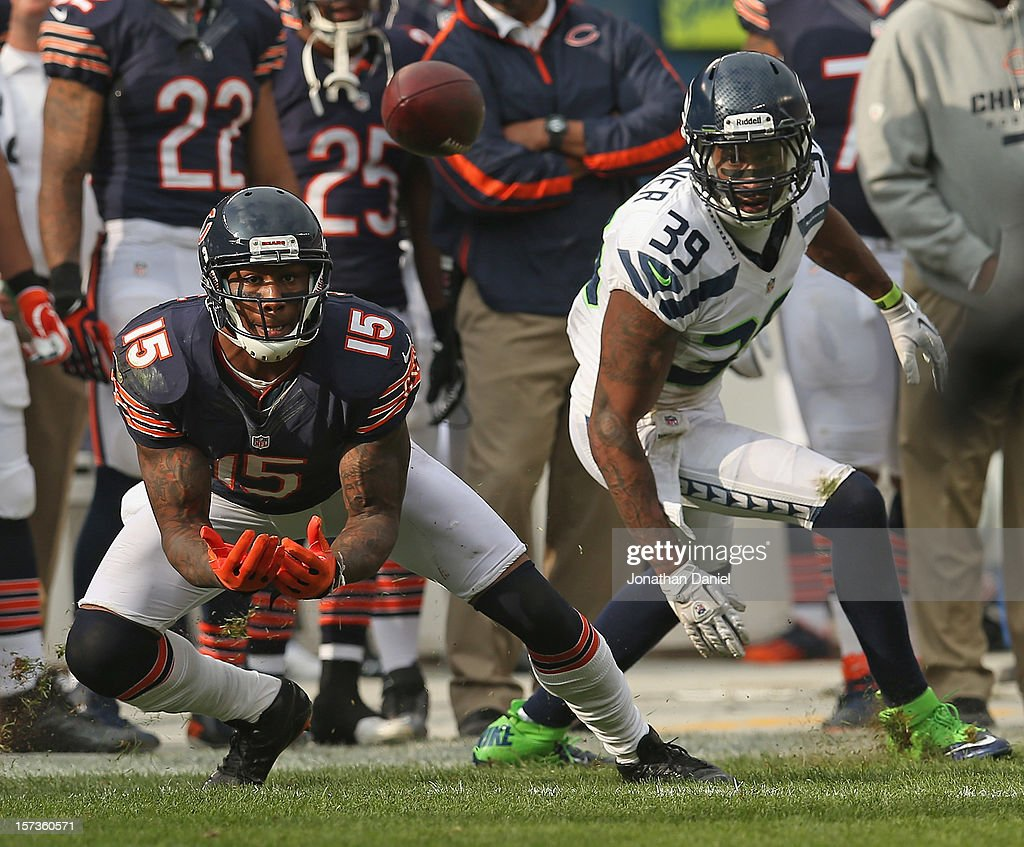 Brandon Marshall #15 of the Chicago Bears catches a pass in front of <a gi-track='captionPersonalityLinkClicked' href=/galleries/search?phrase=Brandon+Browner&family=editorial&specificpeople=749482 ng-click='$event.stopPropagation()'>Brandon Browner</a> #39 of the Seattle Seahawks at Soldier Field on December 2, 2012 in Chicago, Illinois. The Seahawks defeated the Bears 23-17 in overtime.