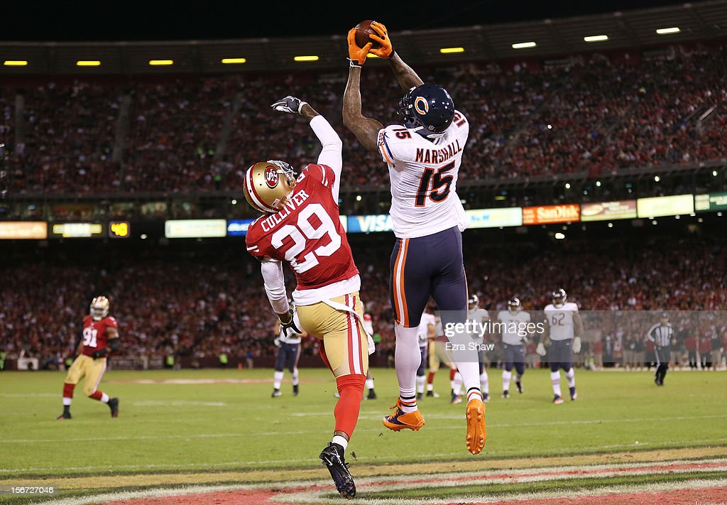 Brandon Marshall #15 of the Chicago Bears catches a third quarter touchdown pass as Chris Culliver #29 of the San Francisco 49ers defends at Candlestick Park on November 19, 2012 in San Francisco, California.