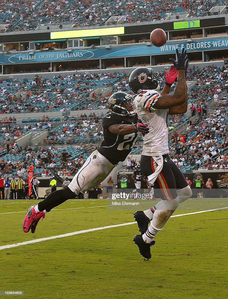 Brandon Marshall #15 of the Chicago Bears catches a touchdown against Derek Cox #21 of the Jacksonville Jaguars during a game at EverBank Field on October 7, 2012 in Jacksonville, Florida.